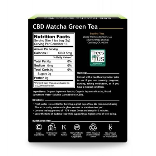 Buddha-CBD-Teas-Matcha-Ingredient-Label